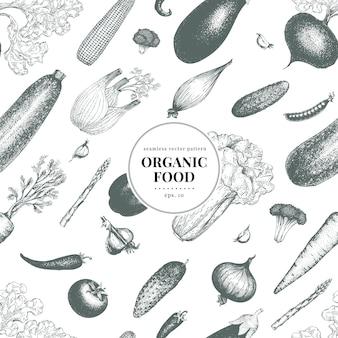 Modèle sans couture de vecteur dessiné main légumes