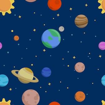 Modèle sans couture de vecteur dessiné à la main avec les planètes du système solaire