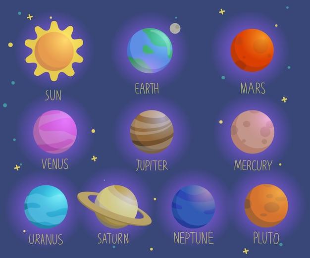 Modèle sans couture de vecteur dessiné à la main avec le soleil, la terre, le système solaire, les planètes, la lune, mars et vénus. ornement cosmique sur le fond sombre.