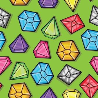 Modèle sans couture de vecteur de diamants de différentes couleurs