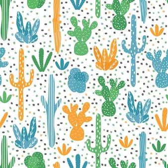 Modèle sans couture de vecteur avec divers cactus. cactus lumineux et mignons. arrière-plan avec des plantes du désert pour le papier d'emballage, le papier peint, les textiles. modèle sans couture de vecteur avec divers cactus.