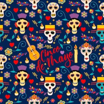Modèle sans couture de vecteur avec des éléments de décor de célébration traditionnelle du mexique bon pour les impressions d'emballage