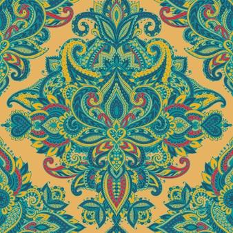 Modèle sans couture de vecteur avec des éléments floraux au henné mehndi dessinés à la main. beau fond sans fin coloré dans le style indien oriental dans des couleurs lumineuses