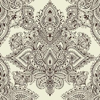 Modèle sans couture de vecteur avec des éléments floraux au henné mehndi dessinés à la main. beau fond sans fin dans le style indien oriental