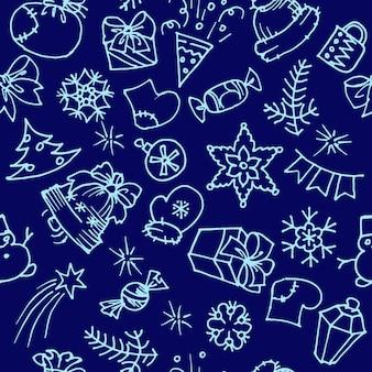 Modèle sans couture de vecteur d'éléments d'hiver et de noël dessinés à la main