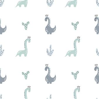 Modèle sans couture de vecteur enfantin avec dinosaure dessiné à la main dans un style scandinave pour textile garçon.
