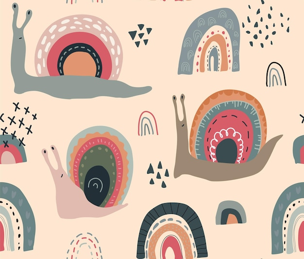 Modèle sans couture de vecteur avec des escargots arc-en-ciel drôles mignons dans un style scandinave abstrait