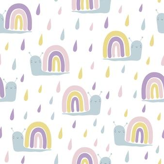 Modèle sans couture de vecteur avec des escargots arc-en-ciel drôles mignons et des gouttes de pluie