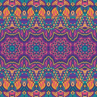 Modèle sans couture de vecteur ethnique tribal géométrique psychédélique imprimé coloré