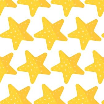 Modèle sans couture de vecteur d'une étoile de mer jaune