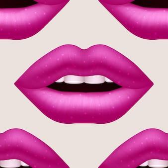 Modèle sans couture de vecteur femme rose réaliste lèvres
