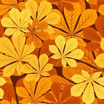 Modèle sans couture de vecteur avec des feuilles de châtaignier automne de différentes couleurs.