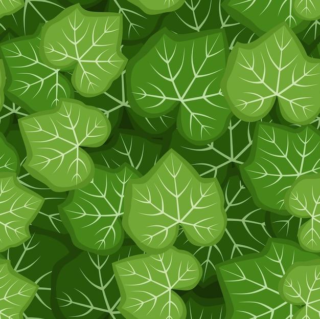 Modèle sans couture de vecteur avec des feuilles de citrouille vertes.