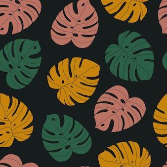 Modèle sans couture de vecteur de feuilles de monstera