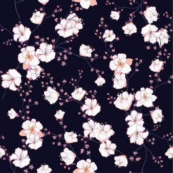Modèle sans couture avec le vecteur de fleur de cerisier en fleurs blanches