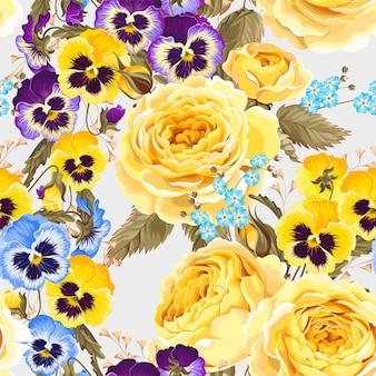 Modèle sans couture de vecteur avec fleur de jardin