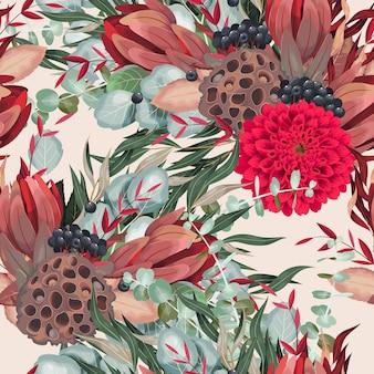 Modèle sans couture de vecteur avec des fleurs et des feuillages de dahlia détaillés sur fond blanc