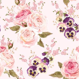 Modèle sans couture de vecteur avec des fleurs de jardin