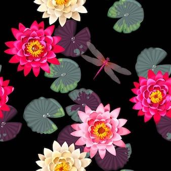Modèle sans couture de vecteur avec des fleurs de lotus et congé