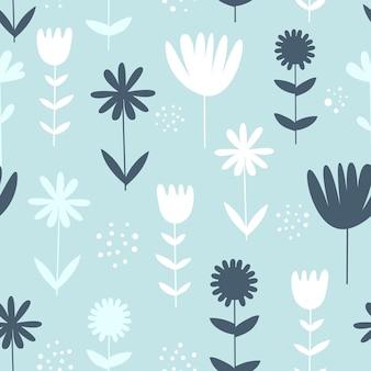 Modèle sans couture de vecteur avec des fleurs. style scandinave.