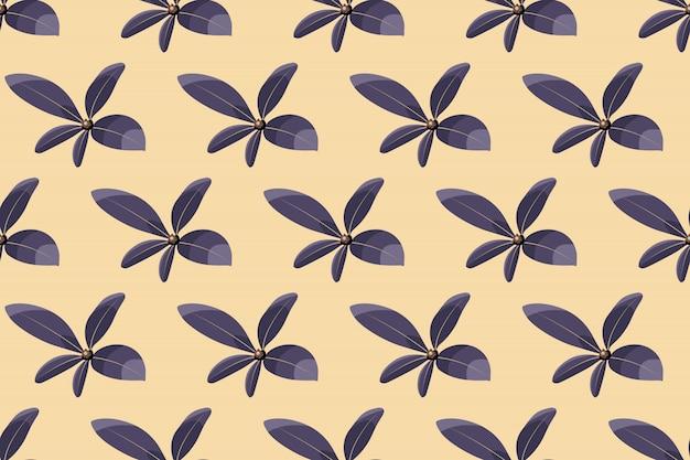 Modèle sans couture de vecteur floral art. feuilles violettes isolées sur fond ivoire. délicat motif sans fin pour papier peint, tissu, textile, papier numérique.