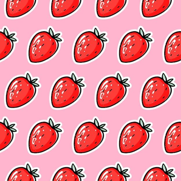 Modèle sans couture de vecteur fraise rouge. arrière-plan de répétition de baies.