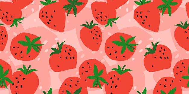 Modèle sans couture de vecteur à la fraise