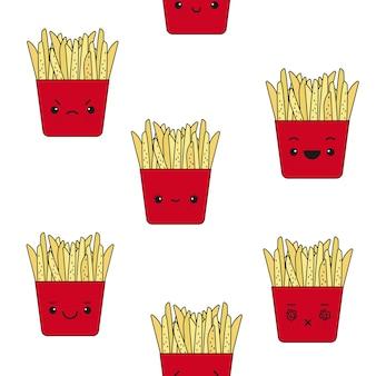 Modèle sans couture de vecteur de frites émotionnelles.