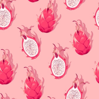 Modèle sans couture de vecteur avec fruit du dragon de détail élevé sur fond rose