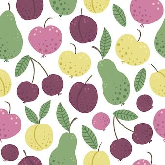 Modèle sans couture de vecteur avec fruits et baies de jardin plat dessinés à la main drôle. texture pomme, poire, prune, pêche, cerise colorée. récoltez l'image de l'espace répétitif