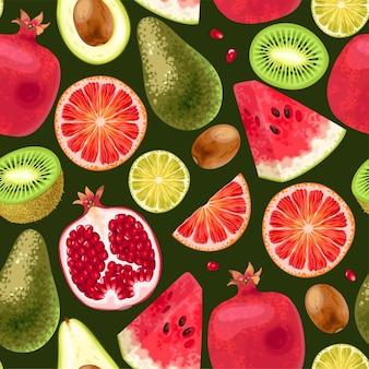 Modèle sans couture de vecteur avec des fruits tropicaux