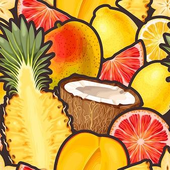Modèle Sans Couture De Vecteur Avec Des Fruits Tropicaux Vecteur Premium
