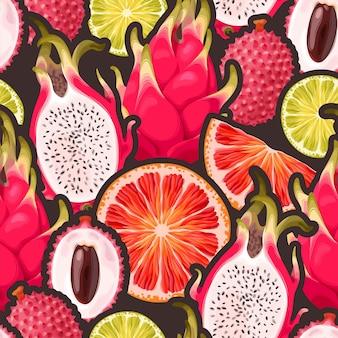 Modèle sans couture de vecteur avec des fruits