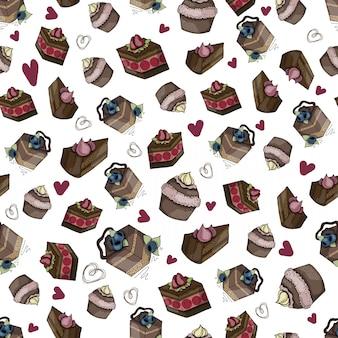 Modèle sans couture de vecteur de gâteaux