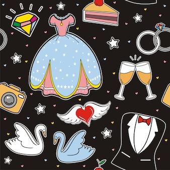 Modèle sans couture de vecteur avec des icônes de mariage