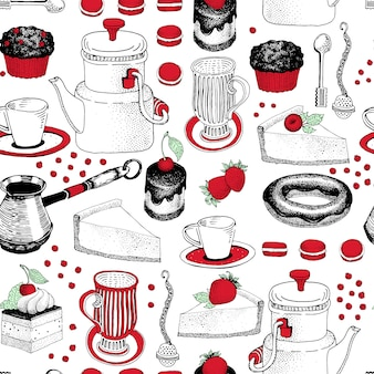 Modèle sans couture de vecteur avec des illustrations dessinées à la main de café et dessert. peut être utilisé pour la boulangerie, la pâtisserie, le café, le magasin et les produits.