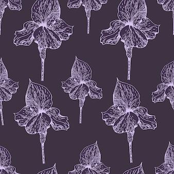 Modèle sans couture de vecteur avec iris. style vintage. illustration dessinée à la main