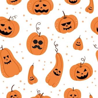 Modèle sans couture de vecteur avec jack-o-lanterns. fond de fête d'halloween avec des lanternes citrouilles drôles. papier numérique effrayant pour la fête d'automne samhain. la texture de la toussaint.