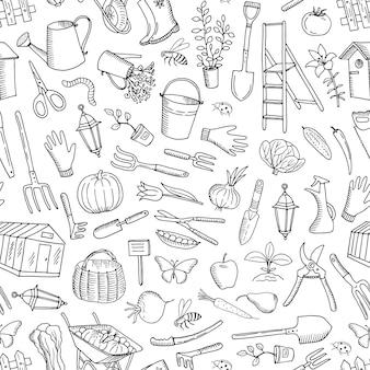 Modèle sans couture de vecteur jardinage doodle