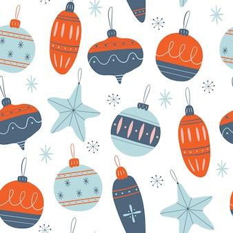 Modèle sans couture de vecteur avec des jouets de noël et des flocons de neige vector illustration de noël