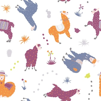 Modèle sans couture de vecteur de lama mignon. lama de bébé dessin animé isolé. pérou animal guanaco, alpaga, vigogne