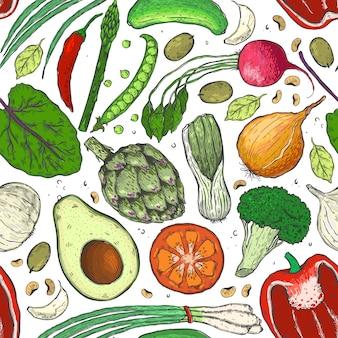 Modèle sans couture de vecteur de légumes dans un croquis.