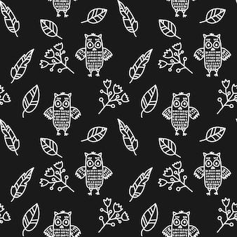 Modèle sans couture de vecteur linéaire avec des feuilles de fleur de hibou
