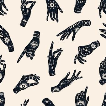 Modèle sans couture de vecteur de mains avec des signes magiques yeux, constellations, soleil, phases de lune et étoiles.