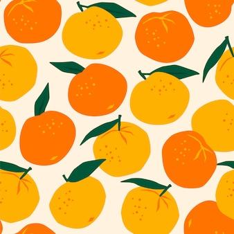 Modèle sans couture de vecteur avec des mandarines