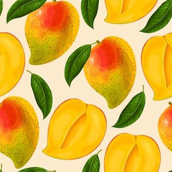 Modèle sans couture de vecteur à la mangue