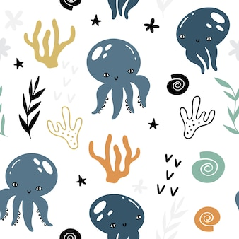 Modèle sans couture de vecteur marin avec animaux et plantes