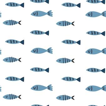 Modèle sans couture de vecteur marin avec poisson