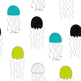 Modèle sans couture de vecteur avec des méduses.