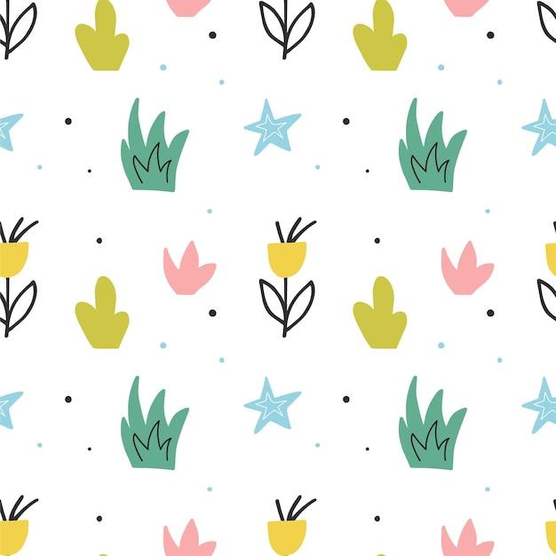 Modèle sans couture de vecteur mignon avec des plantes et des étoiles. arrière-plan dessiné à la main avec des dessins de griffonnage. conception d'impression de papier d'emballage.